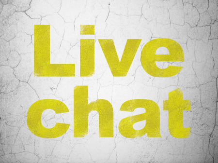 Web design concept: Yellow Live Chat on textured concrete wall background Stock Photo