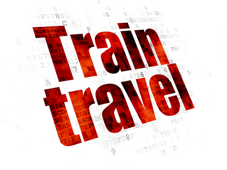 pixelated: Vacation concept: Pixelated red text Train Travel on Digital background