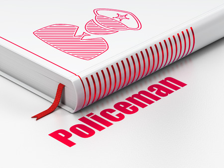 Law concept: closed book with Red Police icon and text Policeman on floor, white background, 3D rendering