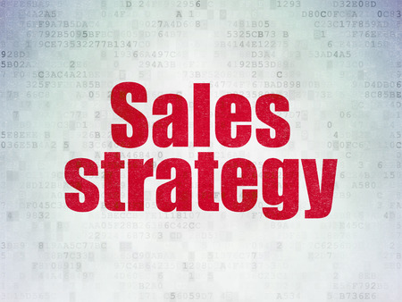 Marketing concept: Painted red word Sales Strategy on Digital Data Paper background