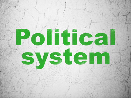 Political concept: Green Political System on textured concrete wall background Stock Photo