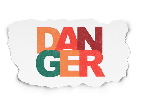 Protection concept: Painted multicolor text Danger on Torn Paper background