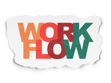 Business concept: Painted multicolor text Workflow on Torn Paper background