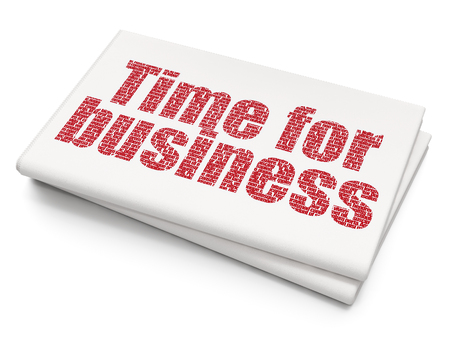 Time concept: Pixelated red text Time for Business on Blank Newspaper background, 3D rendering Stock Photo