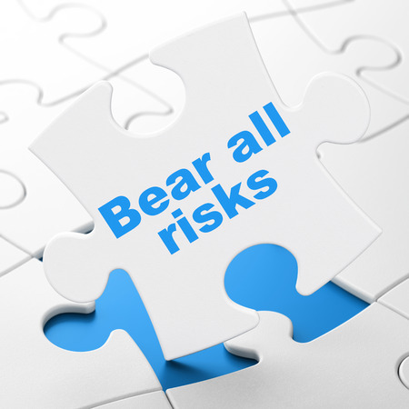 Insurance concept: Bear All Risks on White puzzle pieces background, 3D rendering