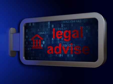 Law concept: Legal Advise and Courthouse on advertising billboard background, 3D rendering Stock Photo
