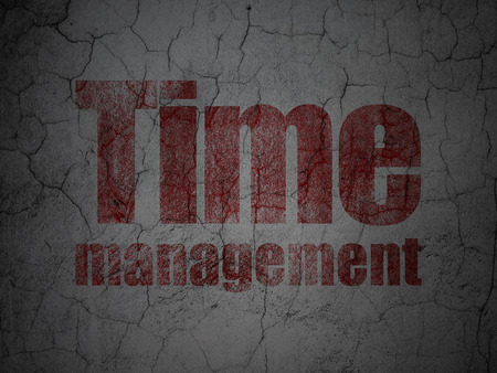 Time concept: Red Time Management on grunge textured concrete wall background