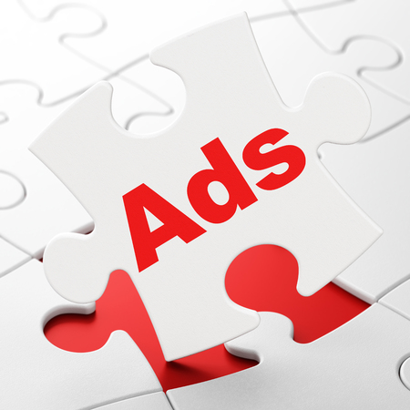 Advertising concept: Ads on White puzzle pieces background, 3D rendering Stock Photo