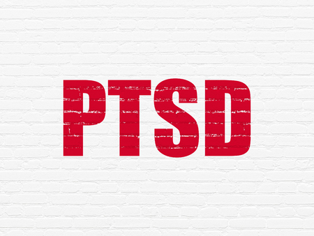 Healthcare concept: Painted red text PTSD on White Brick wall background