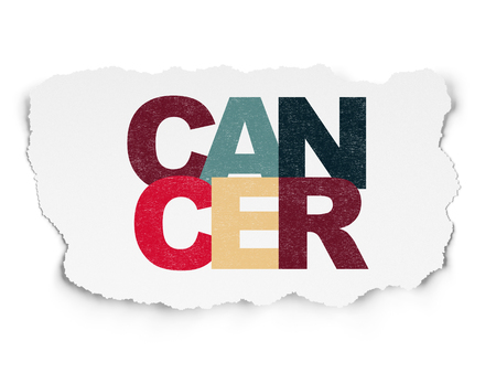 Medicine concept: Painted multicolor text Cancer on Torn Paper background Stock Photo