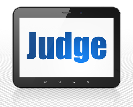 Law concept: Tablet Pc Computer with blue text Judge on display, 3D rendering