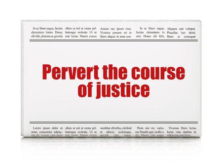 Law concept: newspaper headline Pervert the course Of Justice on White background, 3D rendering Stock Photo