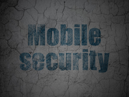 Privacy concept: Blue Mobile Security on grunge textured concrete wall background