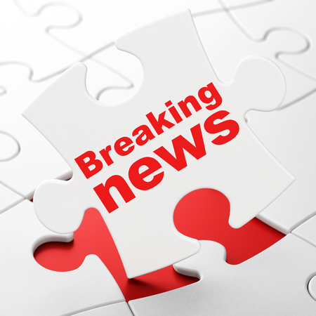 News concept: Breaking News on White puzzle pieces background, 3D rendering Stock Photo