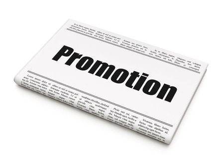 Advertising concept: newspaper headline Promotion on White background, 3D rendering
