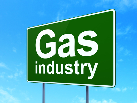 Industry concept: Gas Industry on green road highway sign, clear blue sky background, 3D rendering