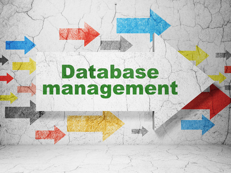 Database concept:  arrow with Database Management on grunge textured concrete wall background, 3D rendering Standard-Bild