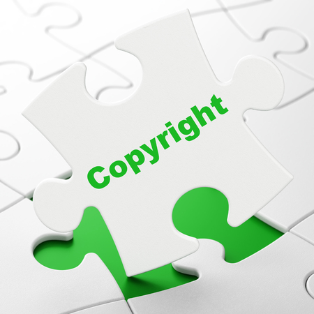 Law concept: Copyright on White puzzle pieces background, 3D rendering Stock Photo