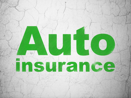 Insurance concept: Green Auto Insurance on textured concrete wall background