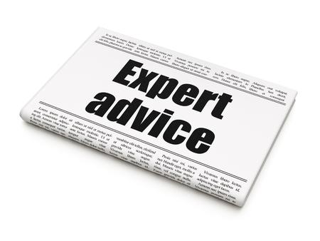 Law concept: newspaper headline Expert Advice on White background, 3D rendering Foto de archivo