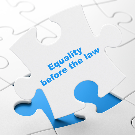 Political concept: Equality Before The Law on White puzzle pieces background, 3D rendering