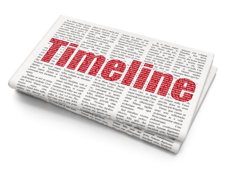 Timeline concept: Pixelated red text Timeline on Newspaper background, 3D rendering Reklamní fotografie