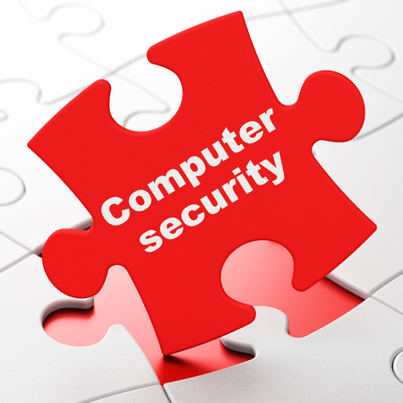 Privacy concept: Computer Security on Red puzzle pieces background, 3D rendering Archivio Fotografico
