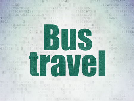 Vacation concept: Painted green word Bus Travel on Digital Data Paper background