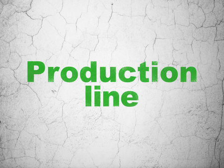Manufacuring concept: Green Production Line on textured concrete wall background