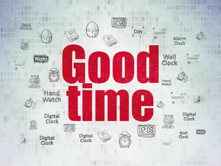 Time concept: Painted red text Good Time on Digital Data Paper background with  Hand Drawing Time Icons