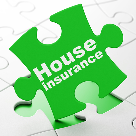 Insurance concept: House Insurance on Green puzzle pieces background, 3D rendering Stock Photo