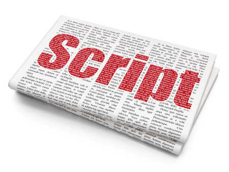 Database concept: Pixelated red text Script on Newspaper background, 3D rendering