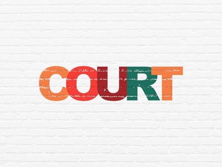 Law concept: Painted multicolor text Court on White Brick wall background Stock Photo