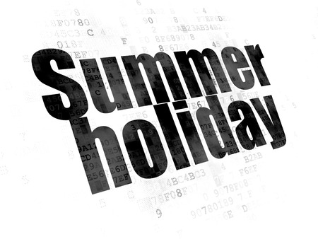 Tourism concept: Pixelated black text Summer Holiday on Digital background