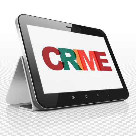 Protection concept: Tablet Computer with Painted multicolor text Crime on display, 3D rendering Imagens