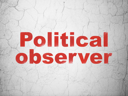Politics concept: Red Political Observer on textured concrete wall background Stock Photo