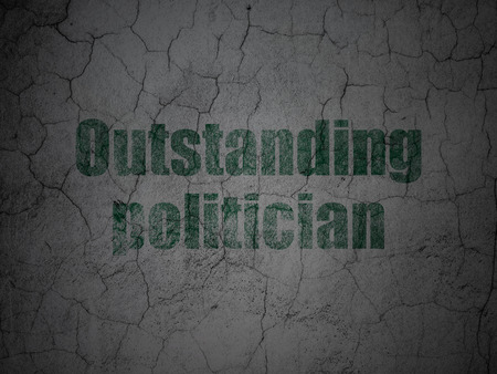 Political concept: Green Outstanding Politician on grunge textured concrete wall background Stock Photo