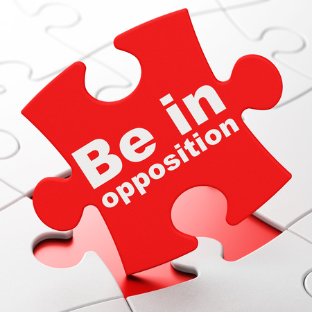 Political concept: Be in Opposition on Red puzzle pieces background, 3D rendering Stock Photo