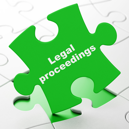 Law concept: Legal Proceedings on Green puzzle pieces background, 3D rendering