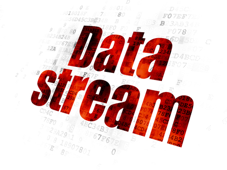 Information concept: Pixelated red text Data Stream on Digital background Stock Photo