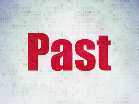 Timeline concept: Painted red word Past on Digital Data Paper background Banque d'images
