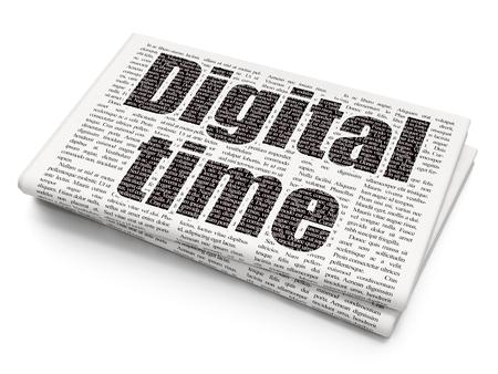 Timeline concept: Pixelated black text Digital Time on Newspaper background, 3D rendering