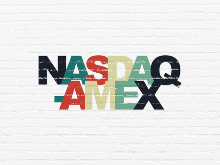 Stock market indexes concept: Painted multicolor text NASDAQ-AMEX on White Brick wall background Banco de Imagens