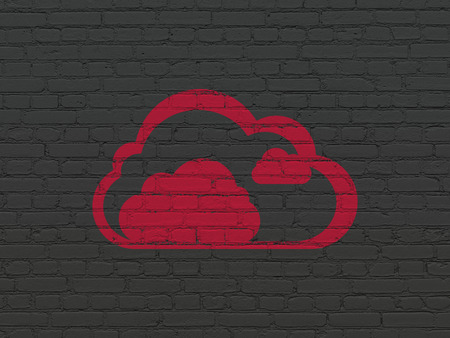 Cloud networking concept: Painted red Cloud icon on Black Brick wall background