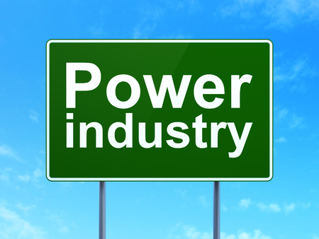 Industry concept: Power Industry on green road highway sign, clear blue sky background, 3D rendering