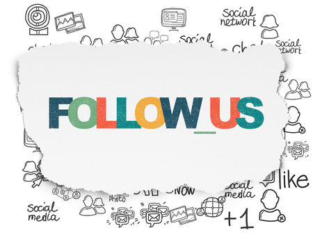Social network concept: Painted multicolor text Follow us on Torn Paper background with  Hand Drawn Social Network Icons Stock Photo