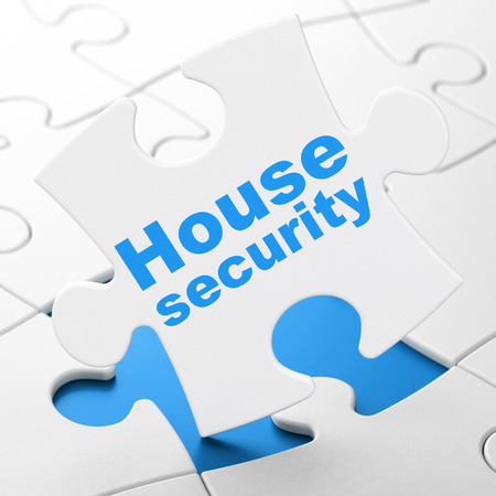 Safety concept: House Security on White puzzle pieces background, 3D rendering
