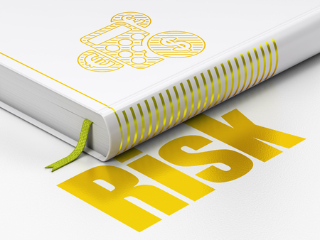 Business concept: closed book with Gold Calculator icon and text Risk on floor, white background, 3D rendering Stock Photo