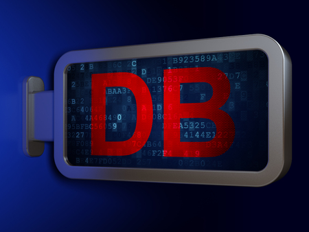Stock market indexes concept: DB on advertising billboard background, 3D rendering Stock Photo