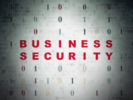 Safety concept: Painted red text Business Security on Digital Data Paper background with Binary Code
